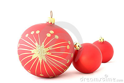 Red christmas balls - isolated