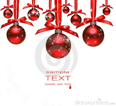 Free Red Christmas Balls With Bows On White Royalty Free Stock Image - 6925996