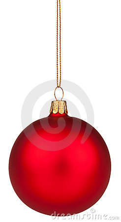 Red Christmas bauble with clipping path