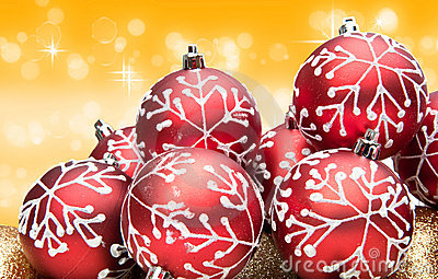 Red Christmas bauble decorations