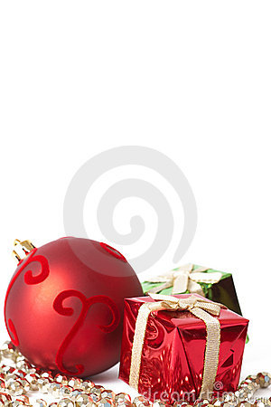 Red Christmas bauble and gifts