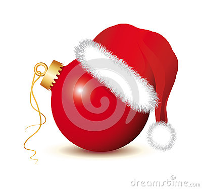 Free Red Christmas Baubles With Santa Claus Hat Royalty Free Stock Image - 35631286