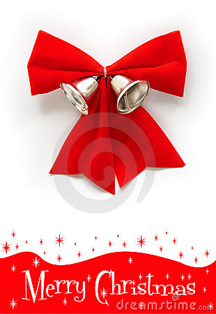 Free Red Christmas Bow With Bell Royalty Free Stock Photos - 16801508