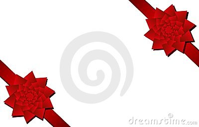 Red Christmas Bows Corner Pieces