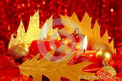 Red Christmas Card : Balls & Candles - Stock Photos