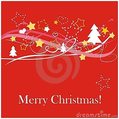 Red christmas card with white Merry Christmas wish