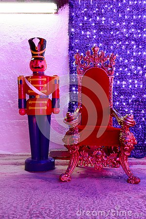 Red Christmas chair Stock Photo