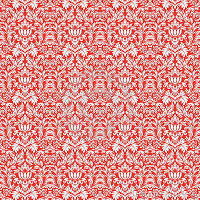 Red Christmas Damask Pattern Seamless Background