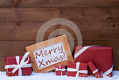Red Christmas Decoration, Gifts, Snow, Merry Xmas Stock Photo