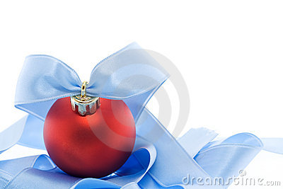 Red christmas decoration with soft blue ribbon