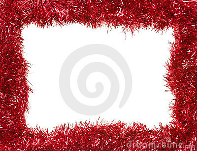 Red Christmas garland, rectangular frame