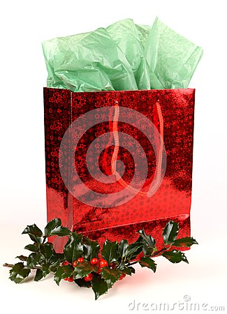 Red Christmas Gift Bag with Holly