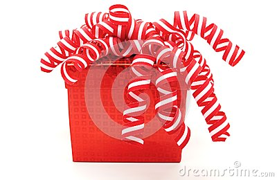 Christmas Card Design Red Gift Isolated