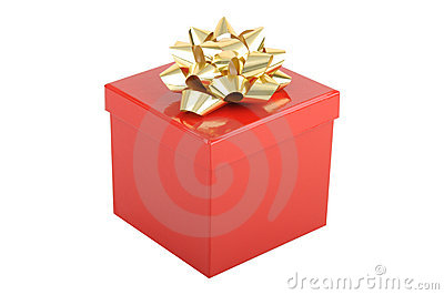 Red christmas gift box with gold bow