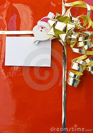 Red christmas gift with empty card