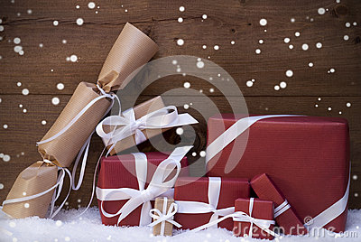 Red Christmas Gifts, Presents, White Ribbon, Snowflakes Stock Photo