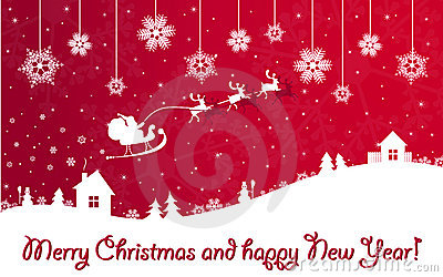 Red Christmas and New Year banner with Santa Claus