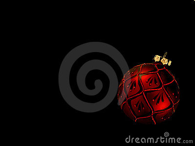 Red Christmas Ornament on Black