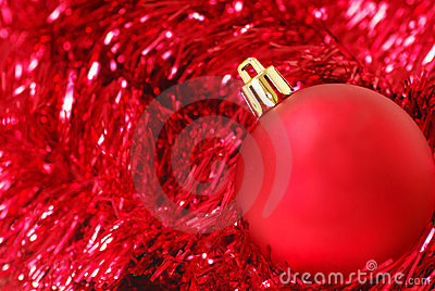 Red Christmas ornament on garland