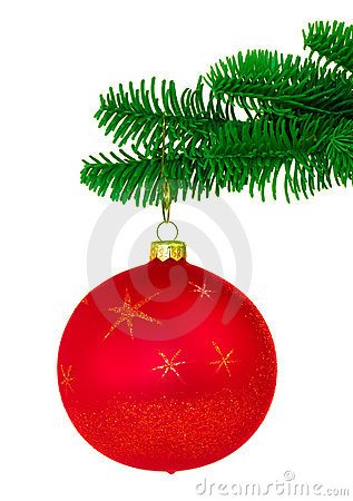 Free Red Christmas Ornament On Noble Pine Tree Bough Stock Images - 4715854
