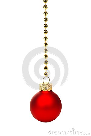 Free Red Christmas Ornament On String Of Gold Beads Over White Stock Photography - 61529222