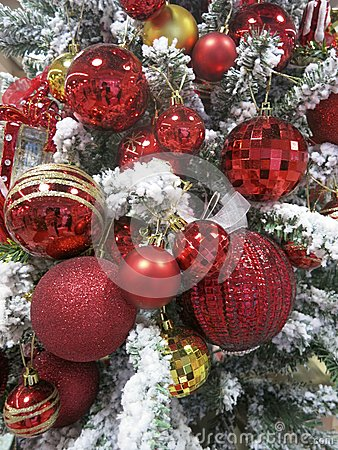 Free Red Christmas Ornaments -- Shiny, Sprakling Red Ornaments On Snowy X-Mas Tree Stock Photos - 35398133