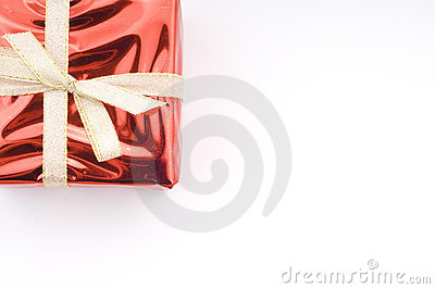 Red christmas present over white