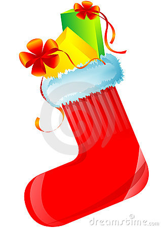Red christmas sock with gifts