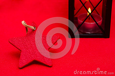 Red christmas star with free space