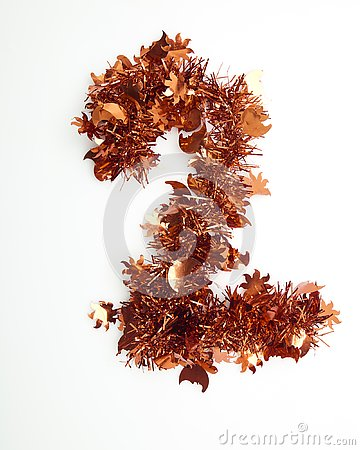 Red christmas tinsel with number Stock Photo