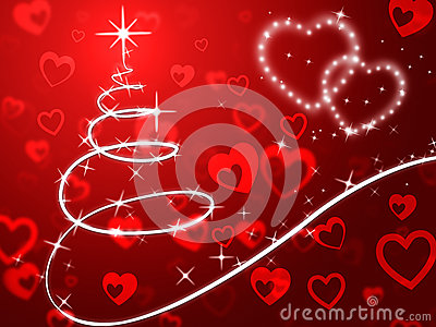 Red Christmas Tree Background Shows Holidays And Love