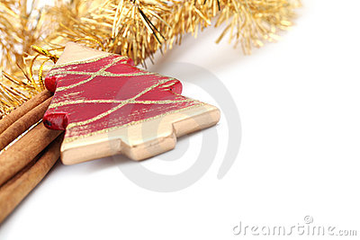 Red Christmas tree ornament with cinnamon sticks
