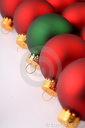 Red Christmas Tree Ornaments with one green