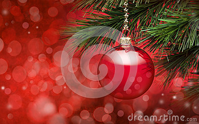 Red Christmas Tree Scene Background Stock Photo