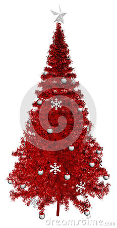 Red Christmas Tree, White Star