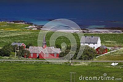 Red church on Lofoten