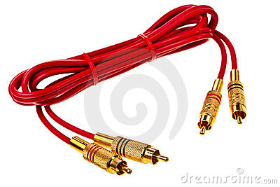 Red cinch audio cable with golden plugs.