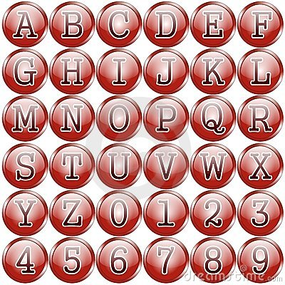 Red circular alphabet buttons