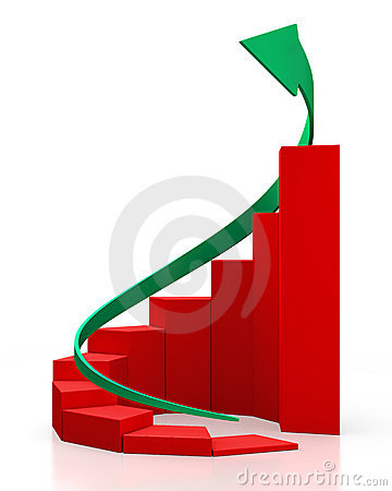 Red circular graph with a green arrow