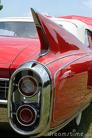 Red Classic Car Tail fin