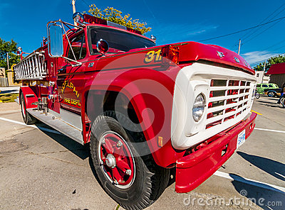 Red classic fire truck Editorial Stock Photo