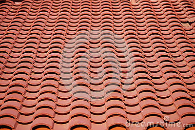 Red clay tiles roof pattern