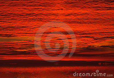 Red clouds on sunrise sky