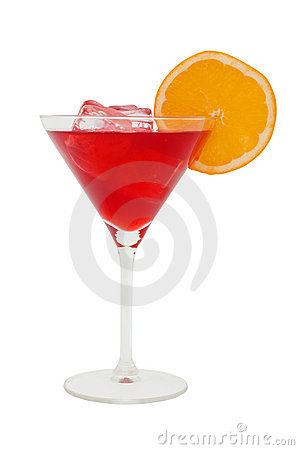 Free Red Cocktail With A Slice Of Orange And Ice Cubes Stock Images - 1526504