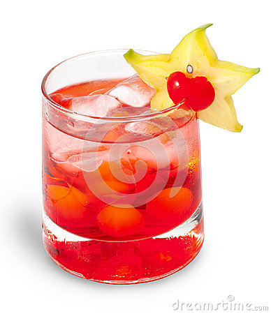 Red cocktaile with tonic and grenadine