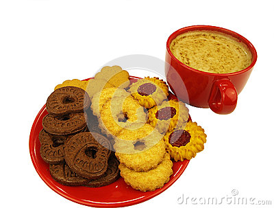 Red coffee cup and cookies