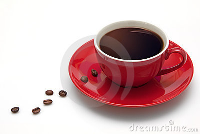 Red coffee cup and grain on white background