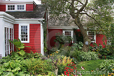 Red colonial American house
