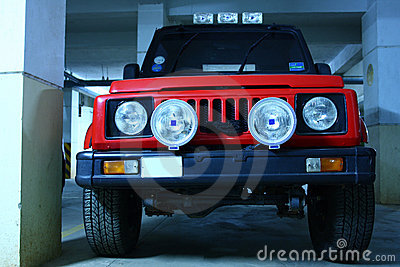 Red Color Automobile with Powerful Fog Lamps