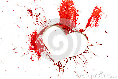 Red color cut out heart